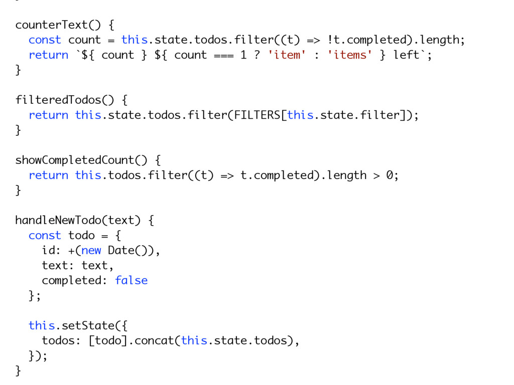 counterText() { const count = this.state.todos....