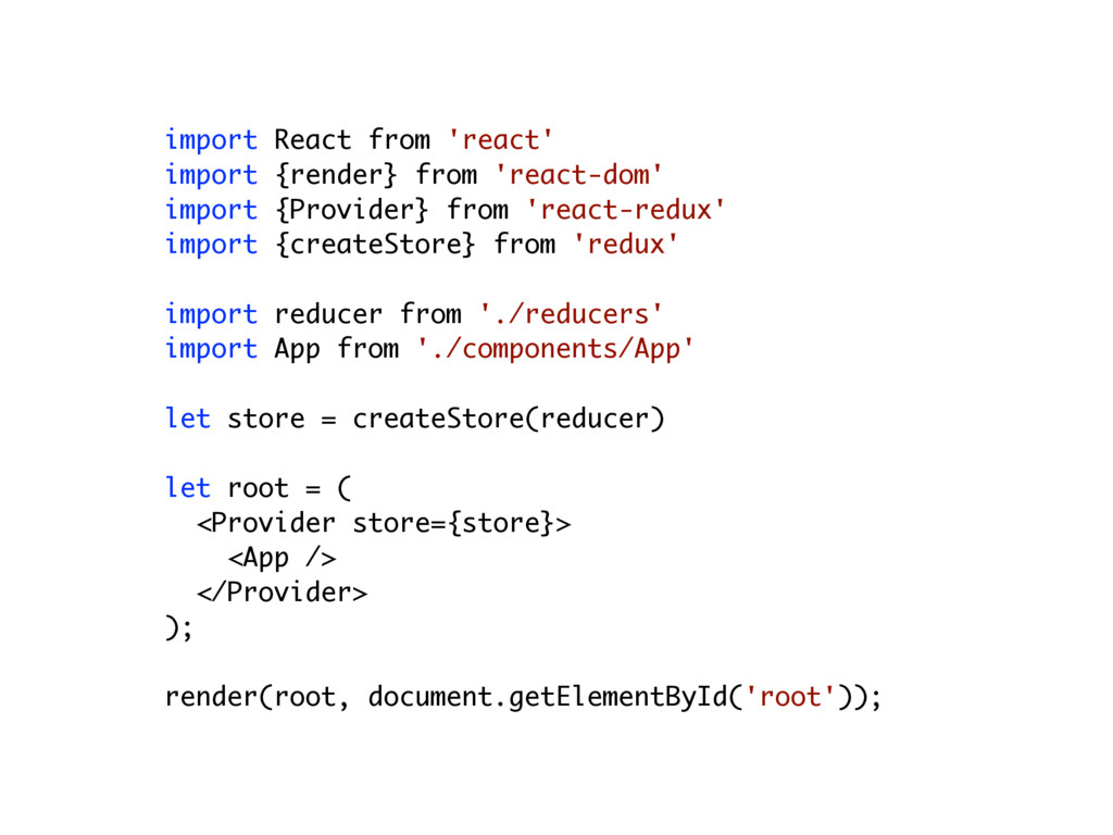 import React from 'react' import {render} from ...