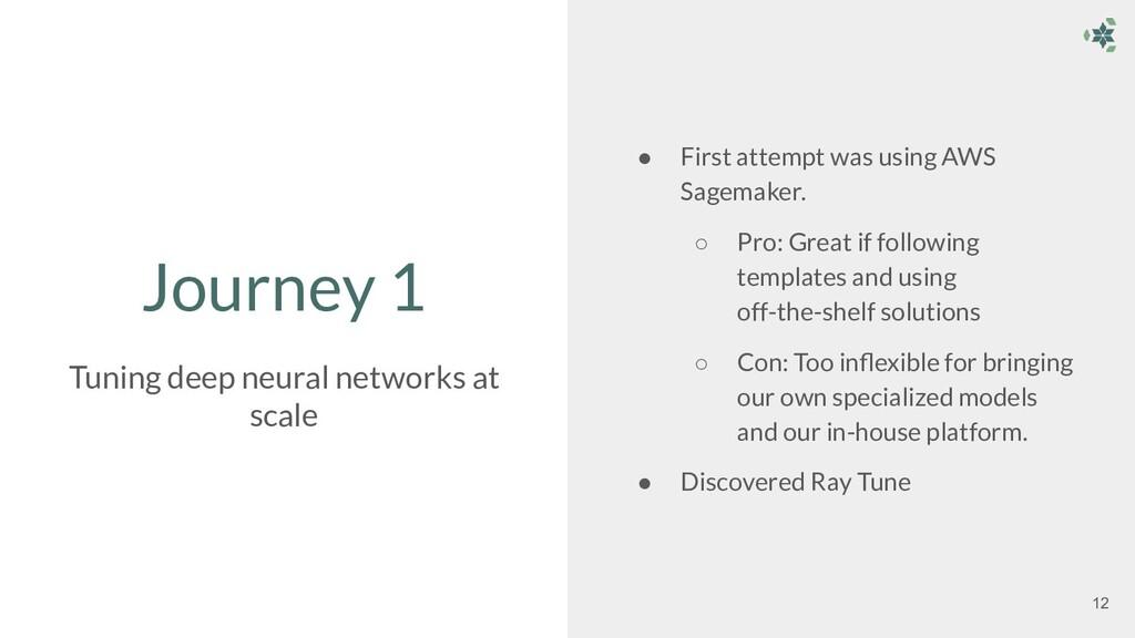 Journey 1 ● First attempt was using AWS Sagemak...