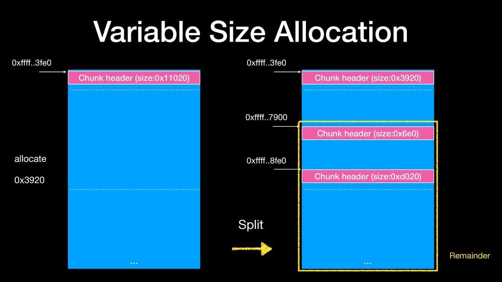 Variable Size Allocation … Chunk header (size:0...