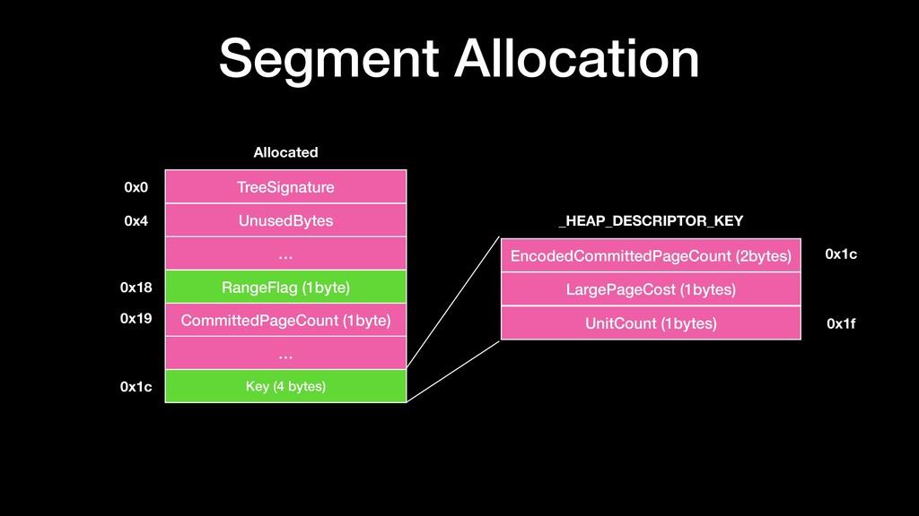 Segment Allocation TreeSignature UnusedBytes Al...