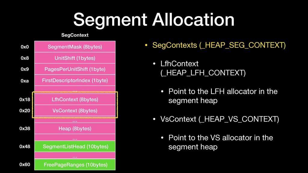 • SegContexts (_HEAP_SEG_CONTEXT)  • LfhContext...
