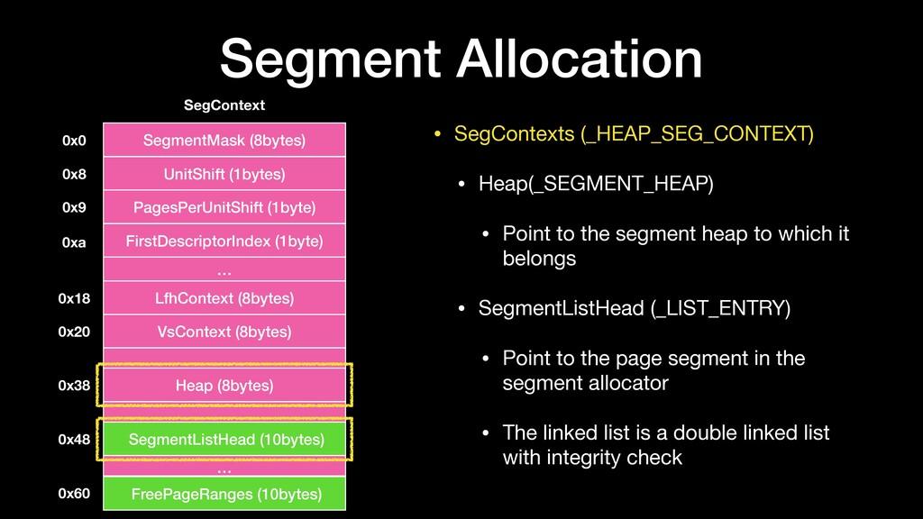 • SegContexts (_HEAP_SEG_CONTEXT)  • Heap(_SEGM...