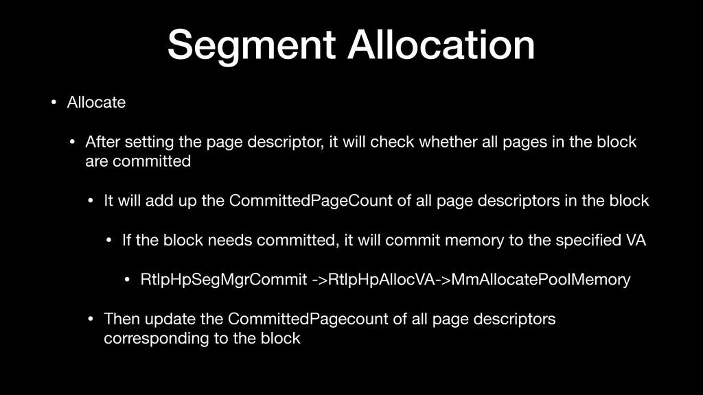 Segment Allocation • Allocate  • After setting ...