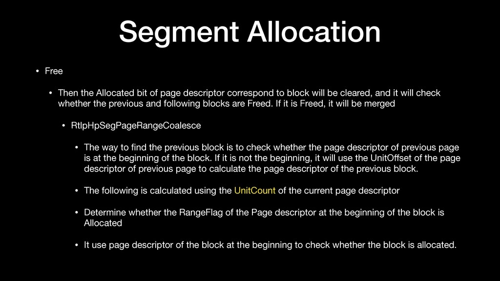 Segment Allocation • Free  • Then the Allocated...