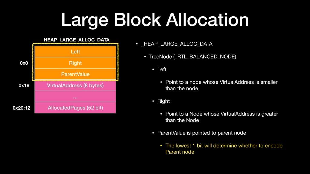 Large Block Allocation • _HEAP_LARGE_ALLOC_DATA...