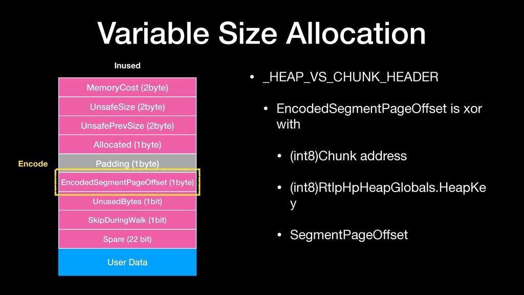 Variable Size Allocation • _HEAP_VS_CHUNK_HEADE...