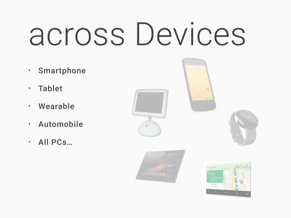 across Devices • Smartphone • Tablet • Wearable...