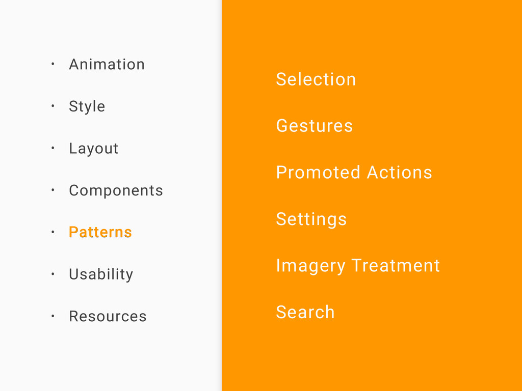 • Animation • Style • Layout • Components • Pat...