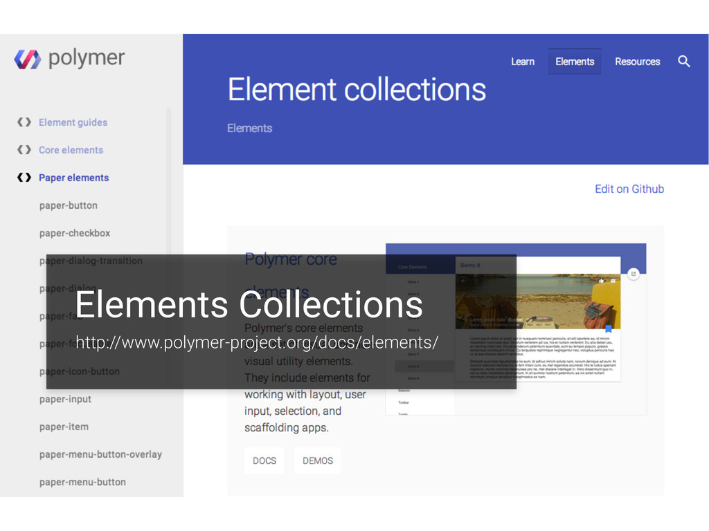 Elements Collections http://www.polymer-project...