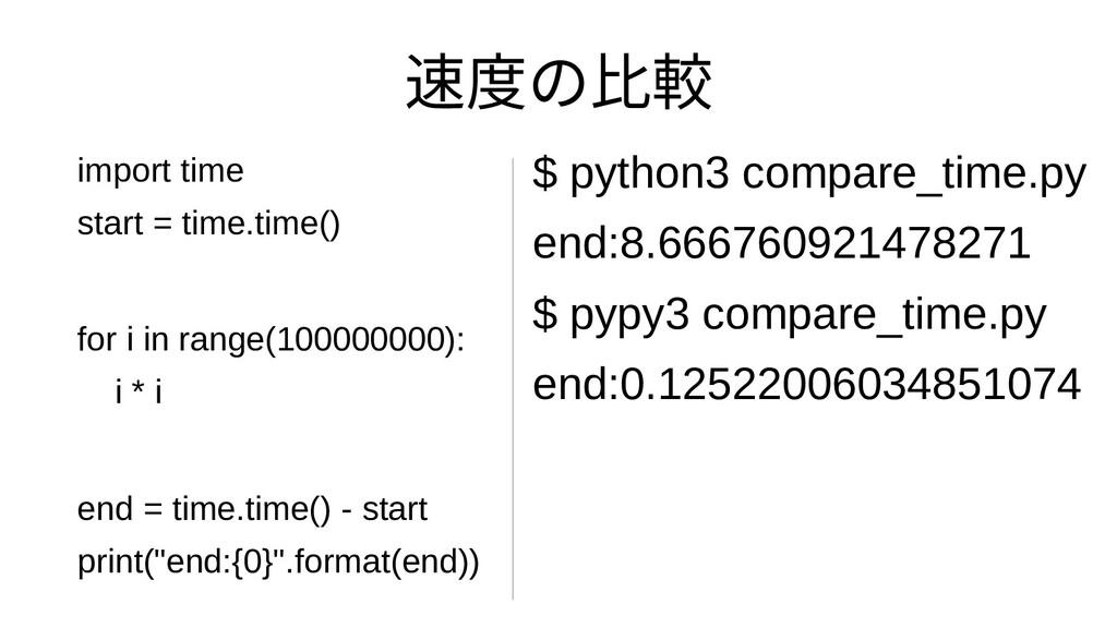 速度を向上することの比べると実行速度較 $ python3 compare_time.py e...