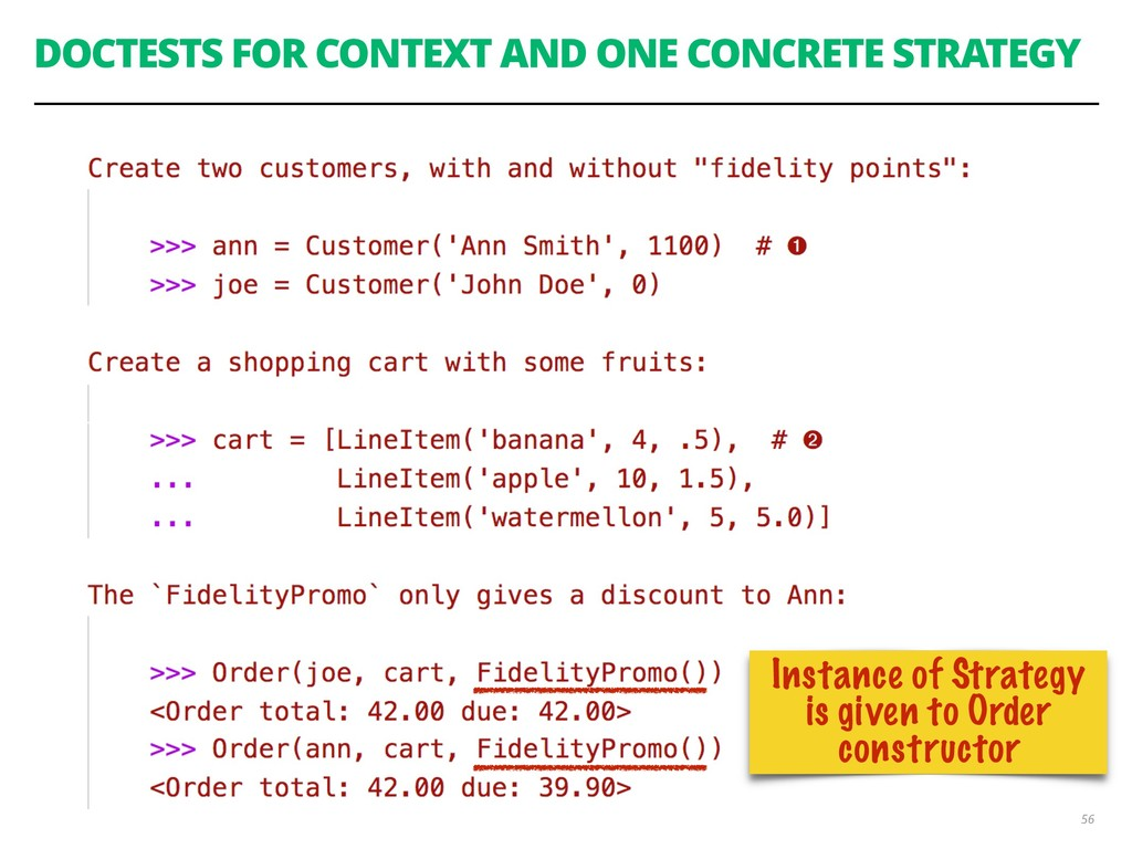 DOCTESTS FOR CONTEXT AND ONE CONCRETE STRATEGY ...