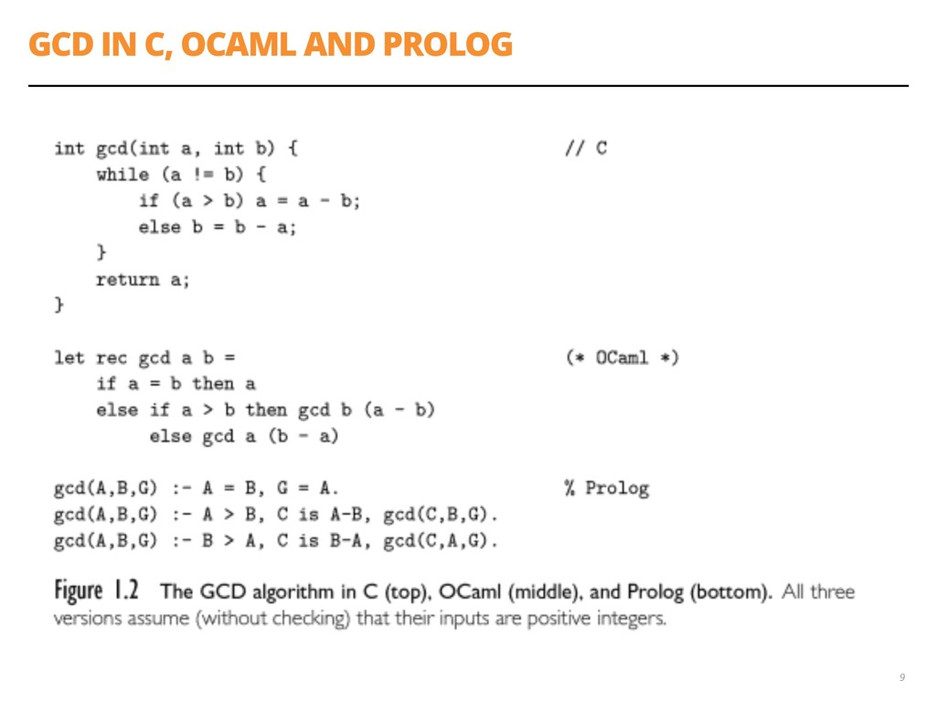 GCD IN C, OCAML AND PROLOG 9