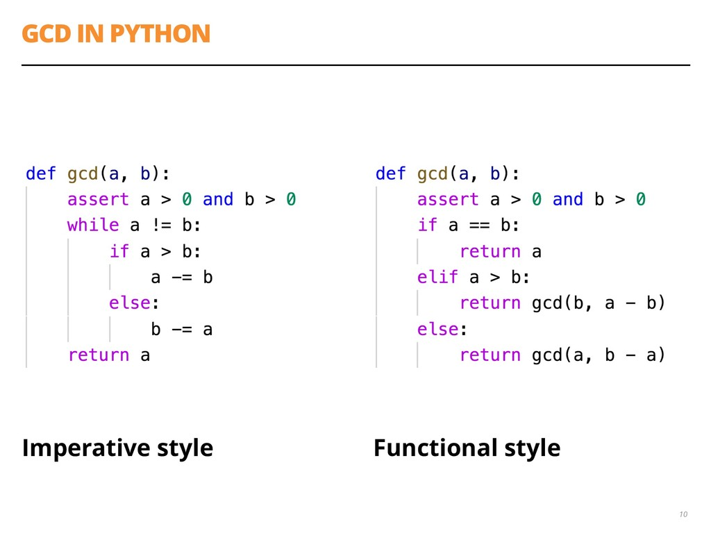 GCD IN PYTHON Imperative style Functional style...