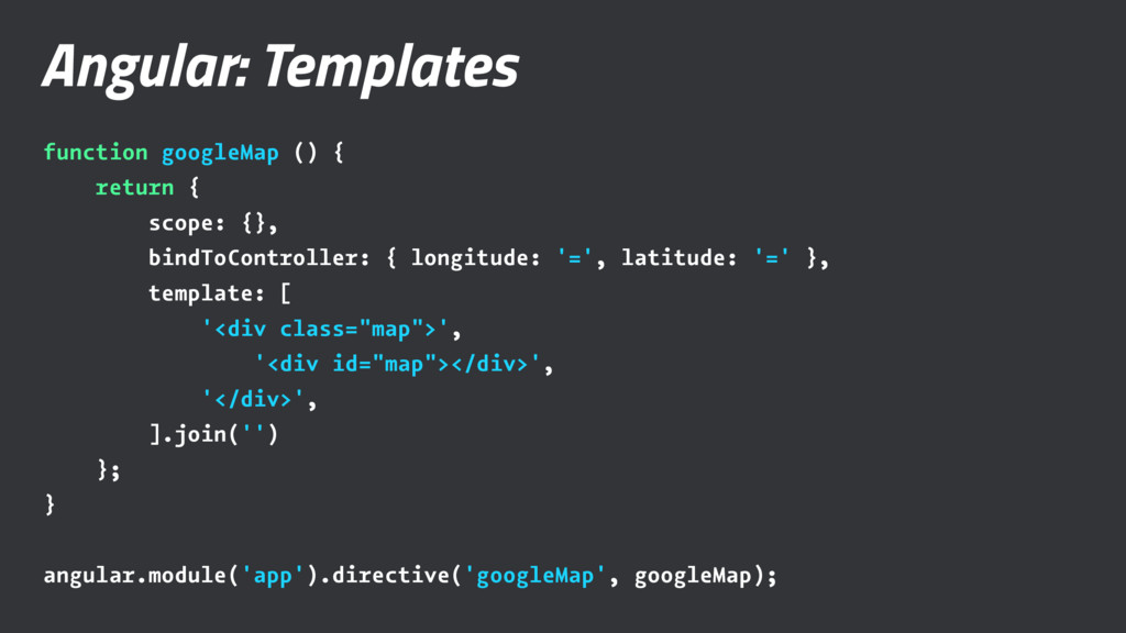 Angular: Templates function googleMap () { retu...