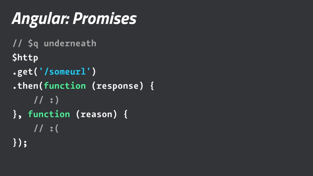 Angular: Promises // $q underneath $http .get('...