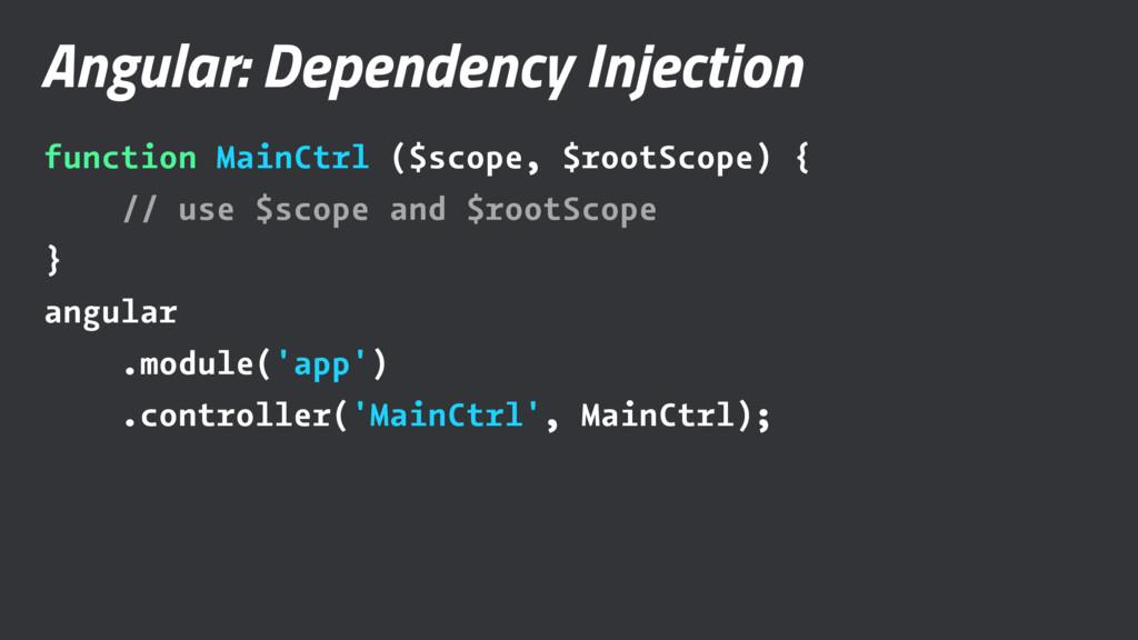 Angular: Dependency Injection function MainCtrl...