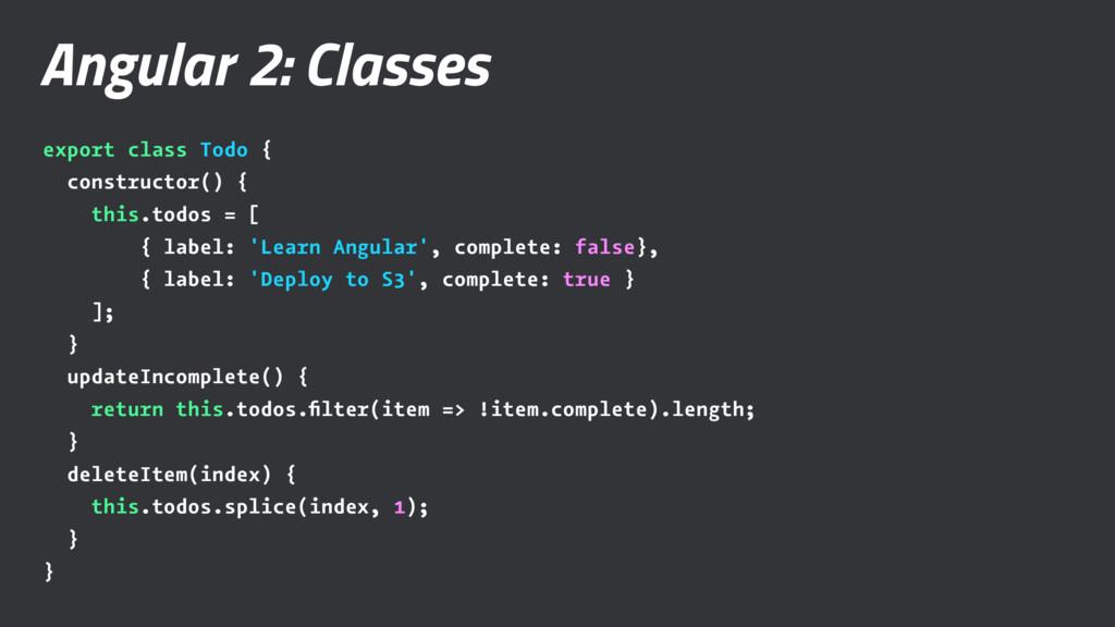 Angular 2: Classes export class Todo { construc...