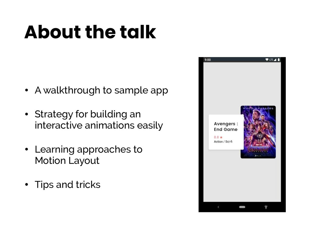 About the talk • A walkthrough to sample app • ...
