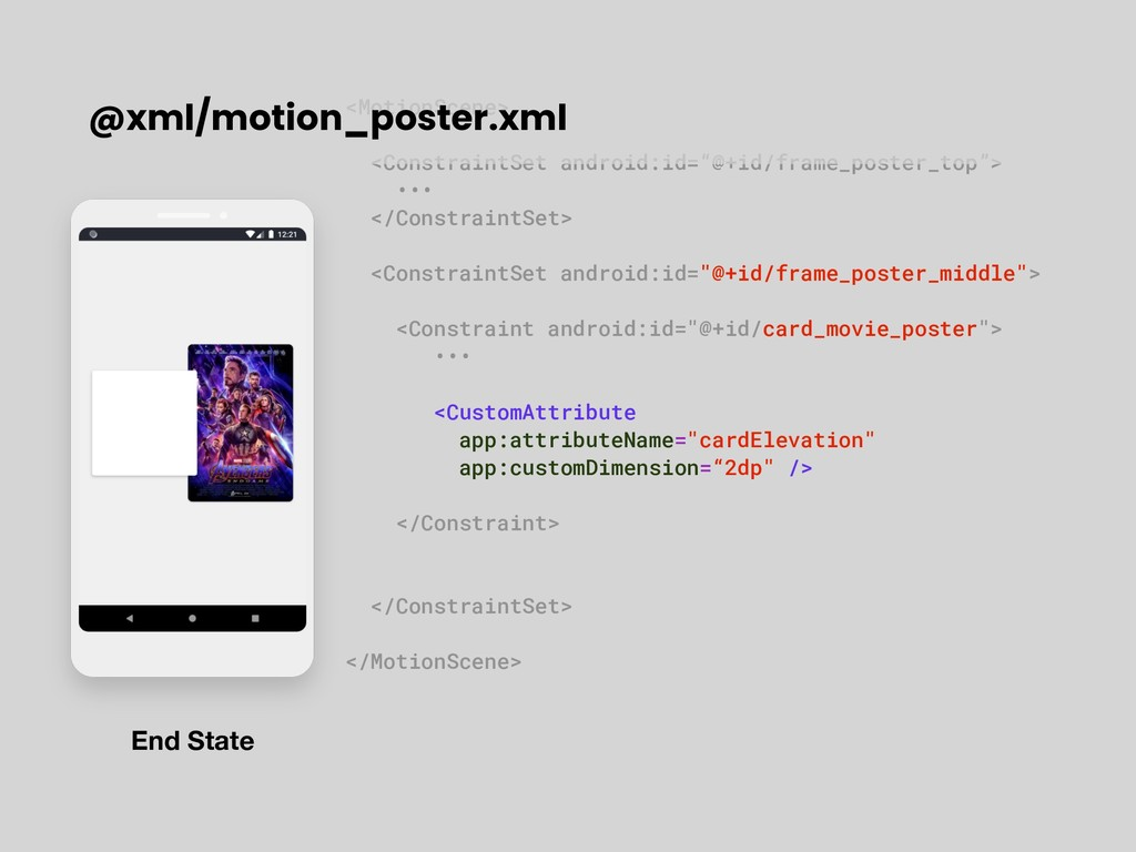 "<MotionScene> <ConstraintSet android:id=""@+id/f..."