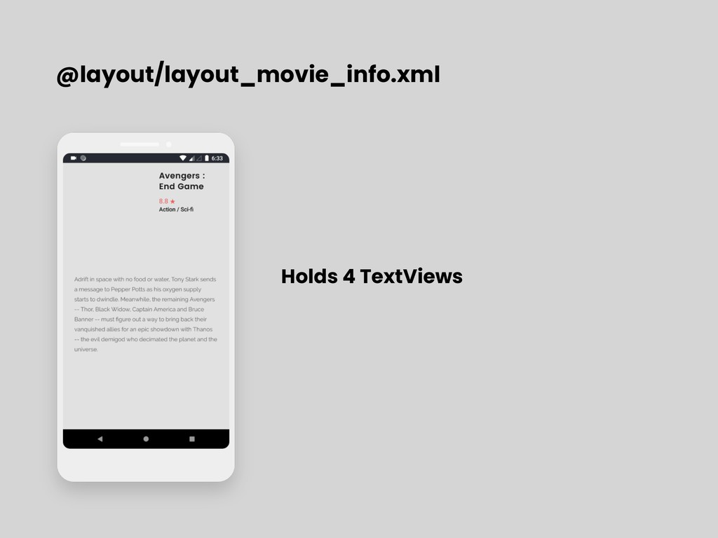@layout/layout_movie_info.xml Holds 4 TextViews