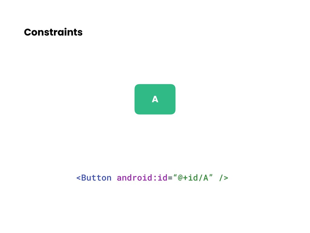 """Constraints <Button android:id=""""@+id/A"""" /> A"""