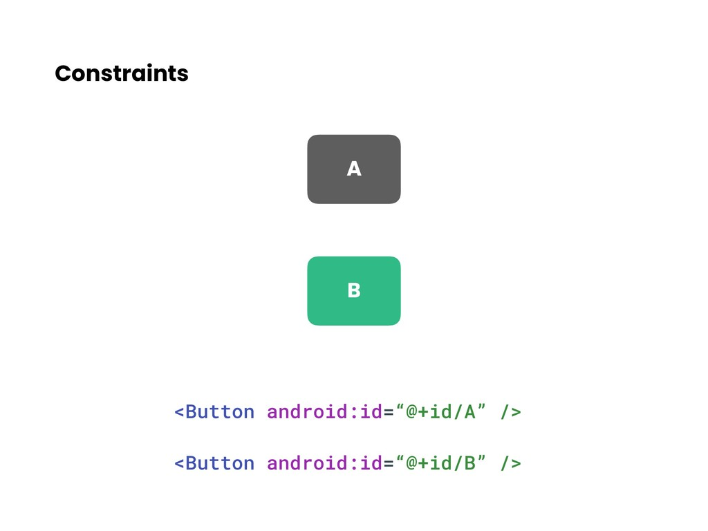 """Constraints <Button android:id=""""@+id/A"""" /> <But..."""
