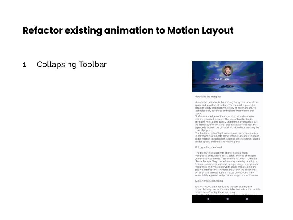 1. Collapsing Toolbar Refactor existing animati...