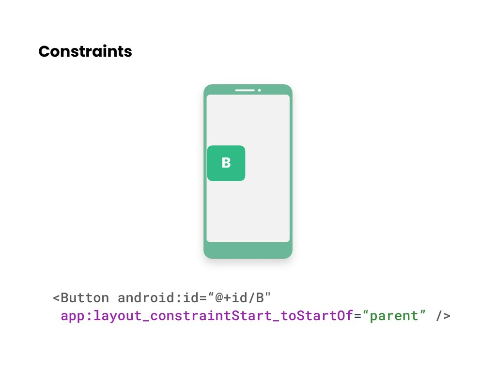 """Constraints <Button android:id=""""@+id/B"""" app:lay..."""