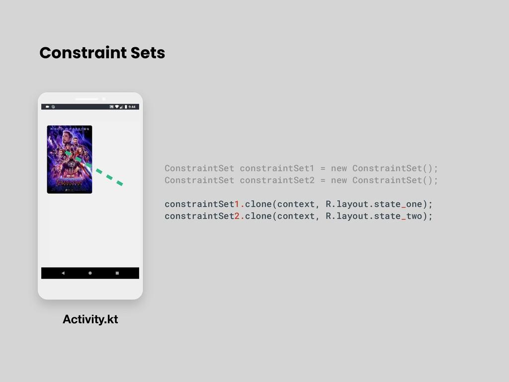 Constraint Sets ConstraintSet constraintSet1 = ...