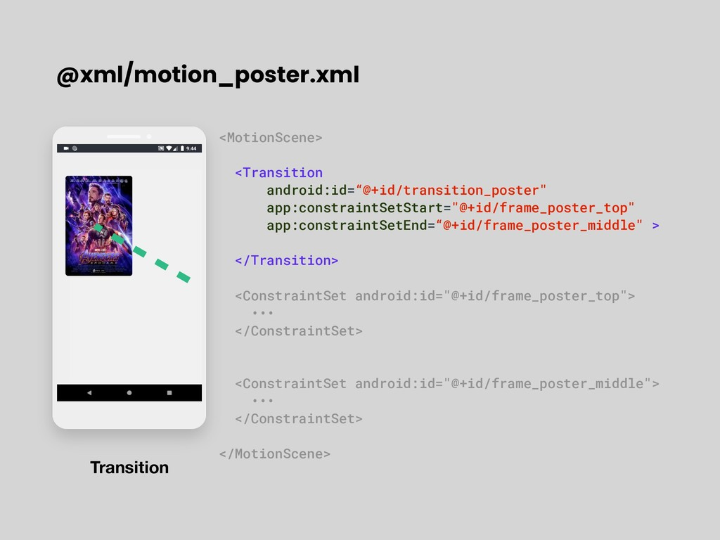 @xml/motion_poster.xml <MotionScene> <Transitio...
