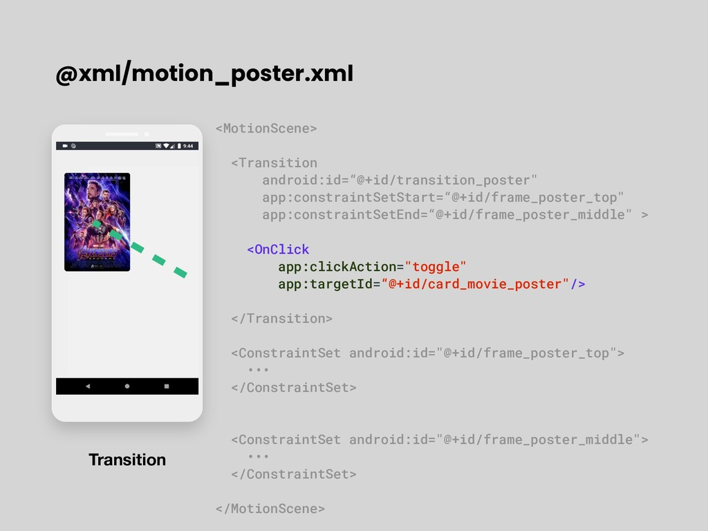 @xml/motion_poster.xml Transition <MotionScene>...
