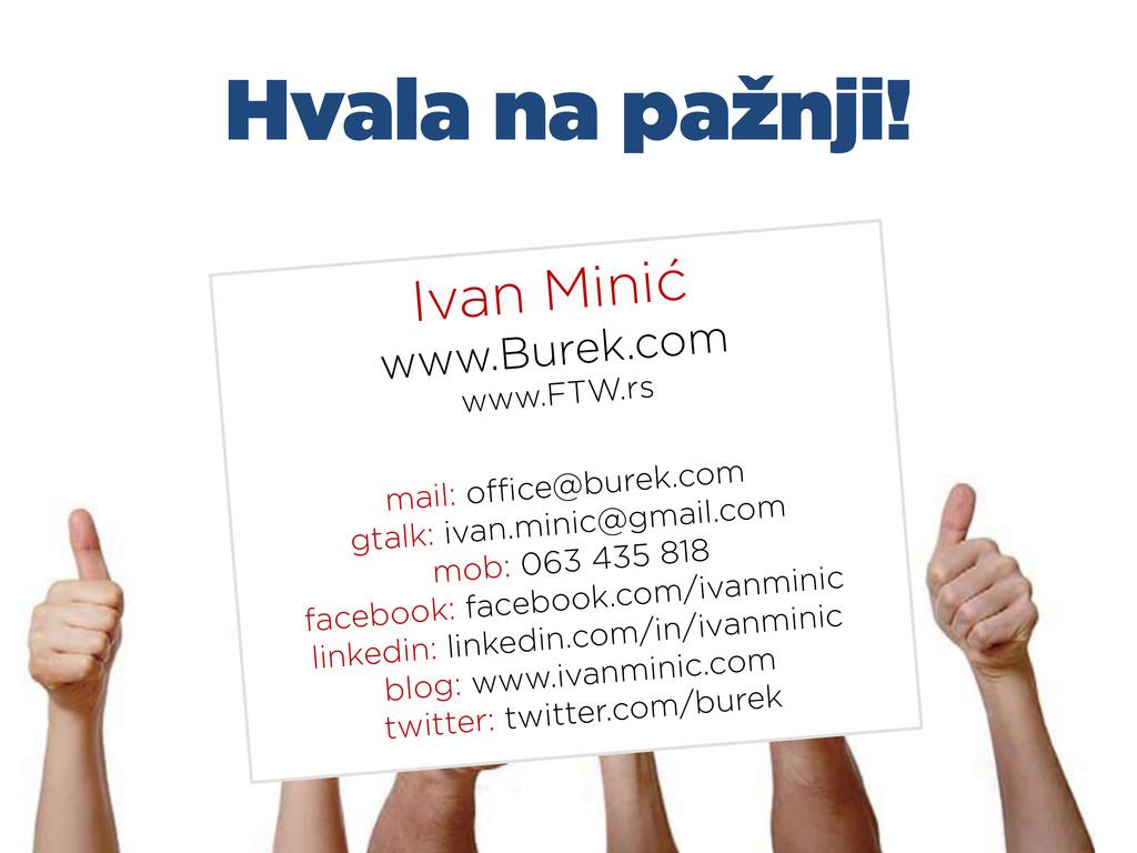 Hvala na pažnji! Ivan Minić www.Burek.com www.F...