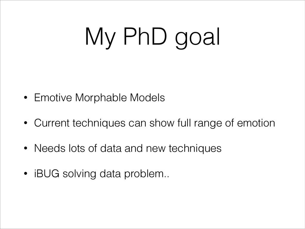 My PhD goal • Emotive Morphable Models • Curren...