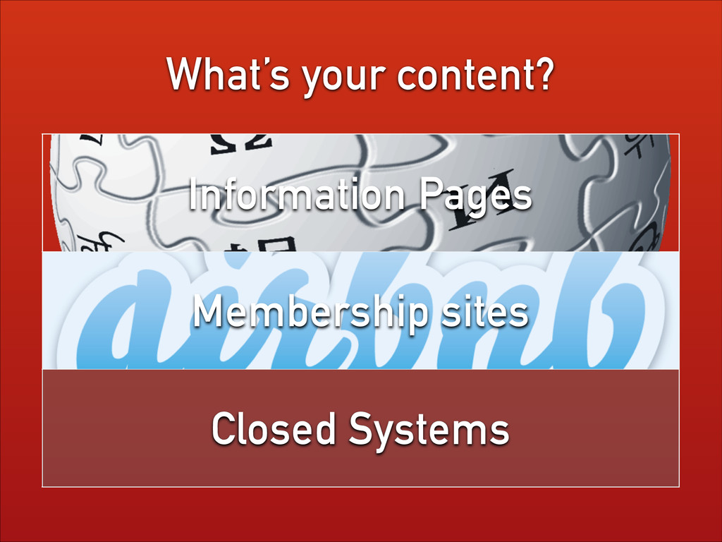 What's your content? Information Pages Membersh...