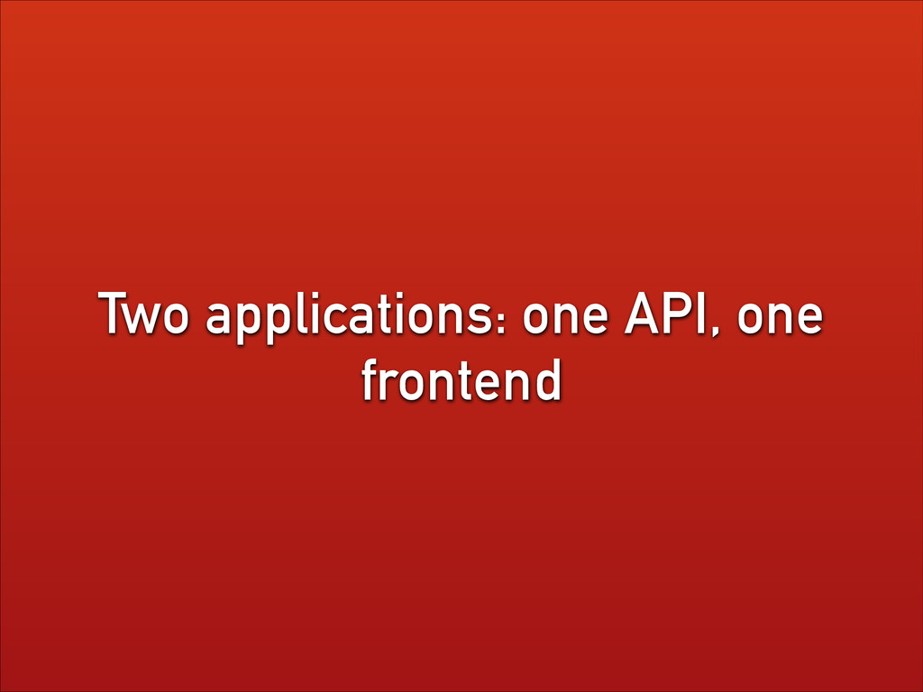 Two applications: one API, one frontend