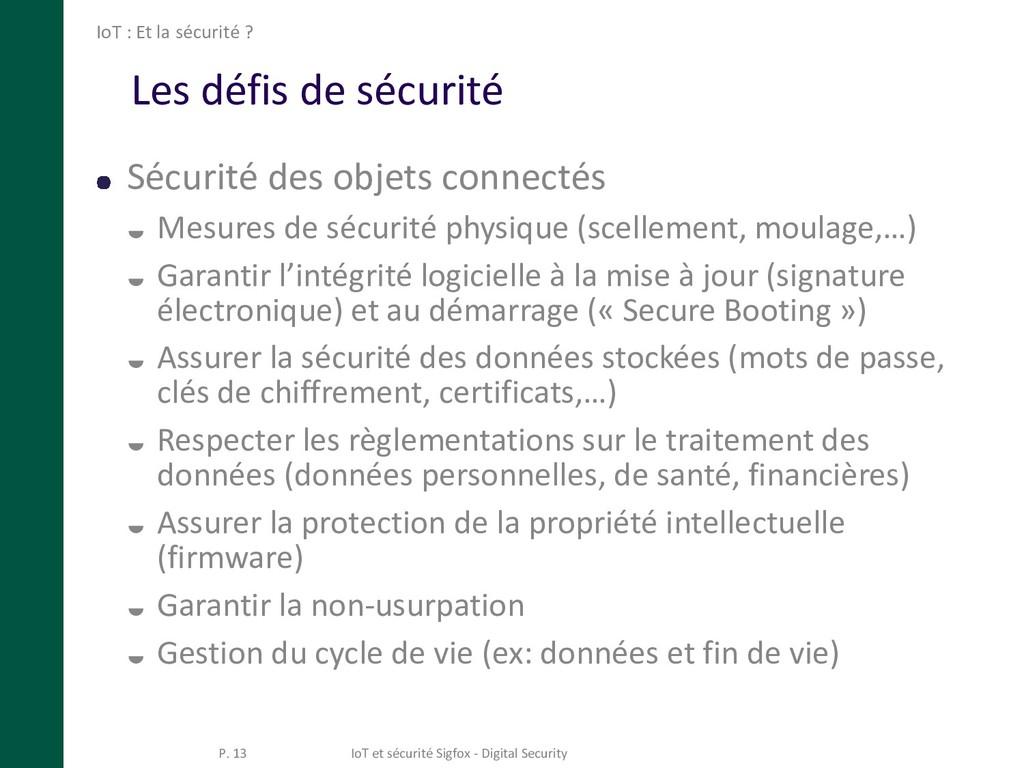 Les défis de sécurité Sécurité des objets conne...