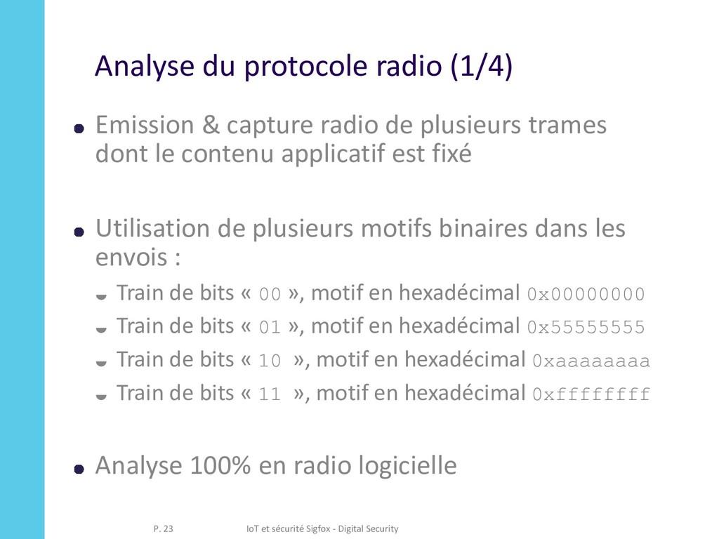 Analyse du protocole radio (1/4) Emission & cap...