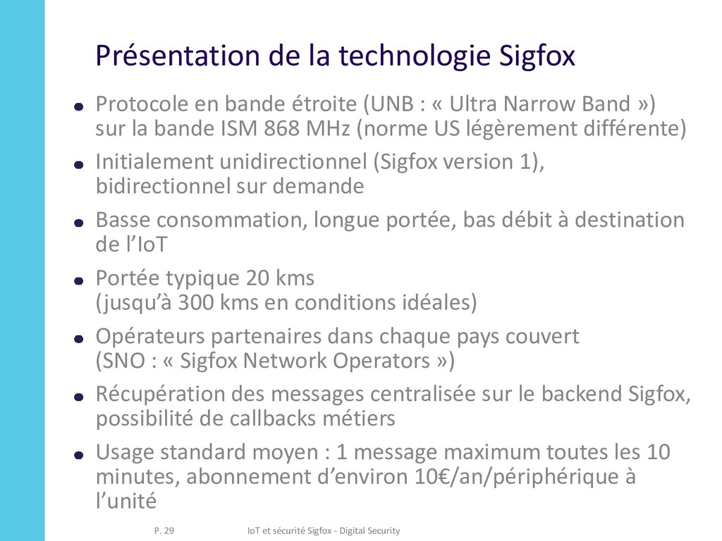 Présentation de la technologie Sigfox Protocole...