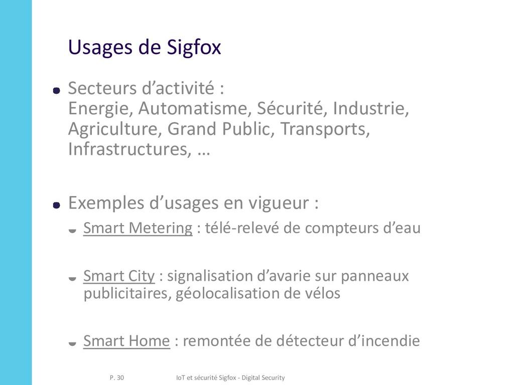 Usages de Sigfox Secteurs d'activité : Energie,...