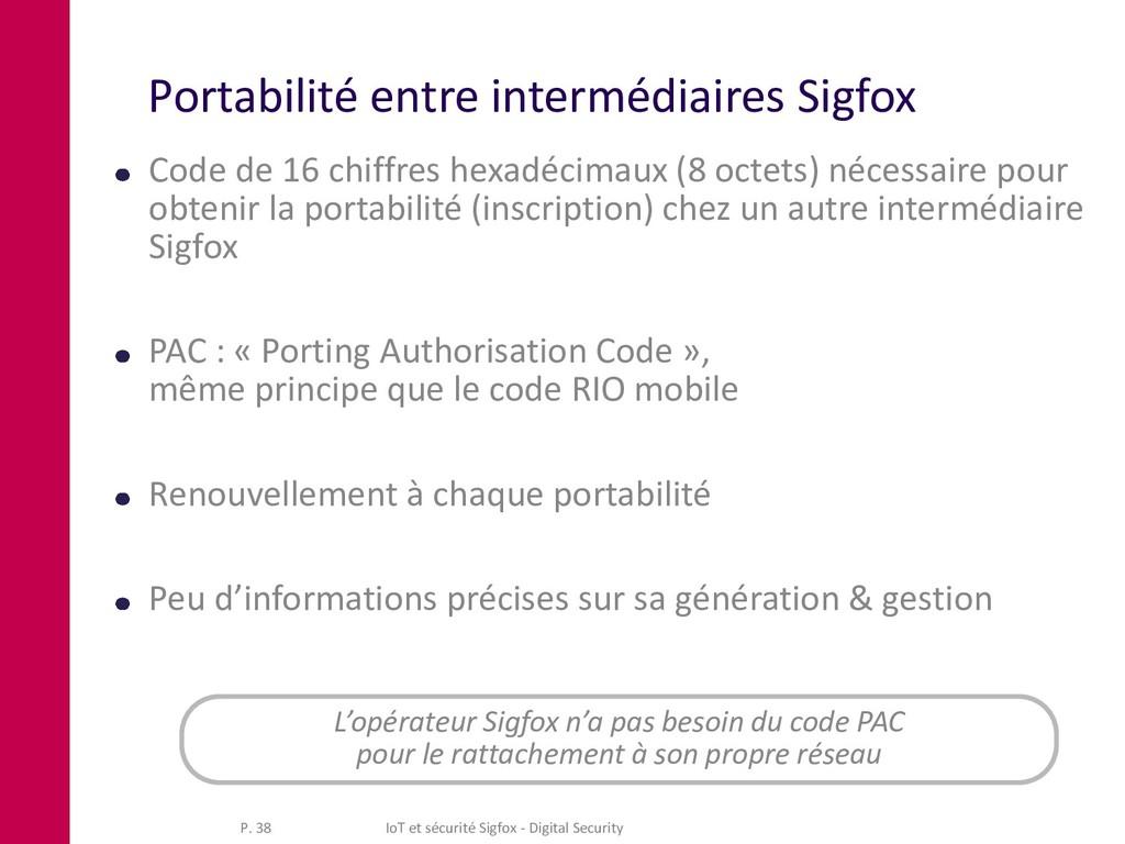 Portabilité entre intermédiaires Sigfox Code de...
