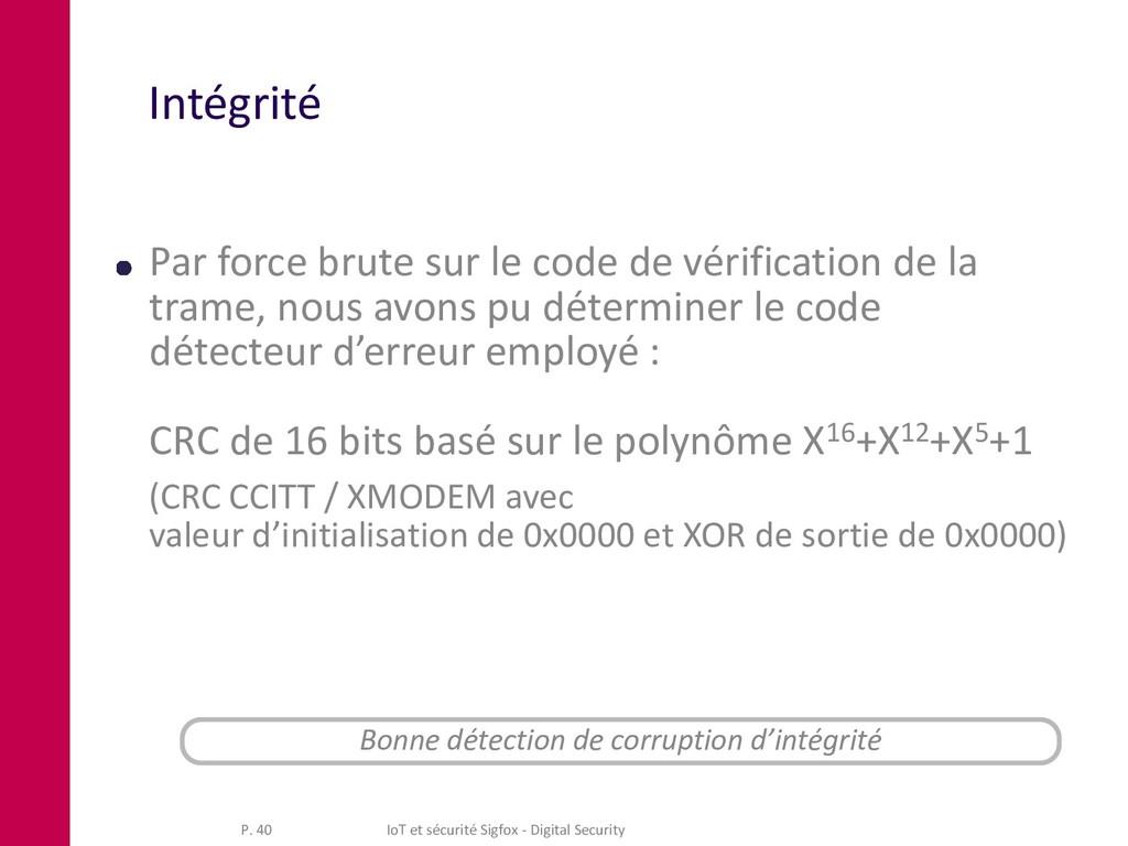 Intégrité Par force brute sur le code de vérifi...
