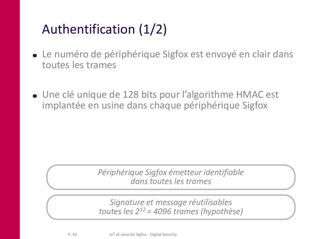 Authentification (1/2) Le numéro de périphériqu...