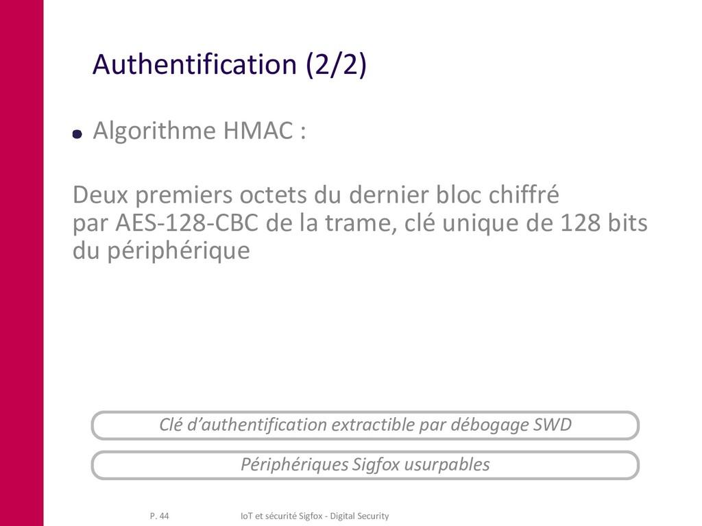 Authentification (2/2) Algorithme HMAC : Deux p...
