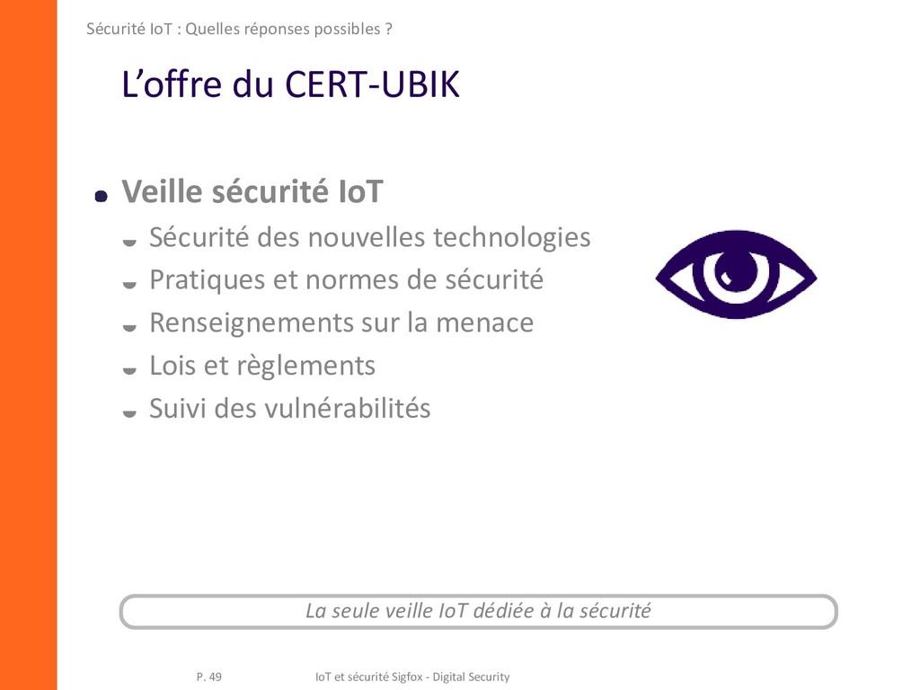 L'offre du CERT-UBIK Veille sécurité IoT  Sécu...