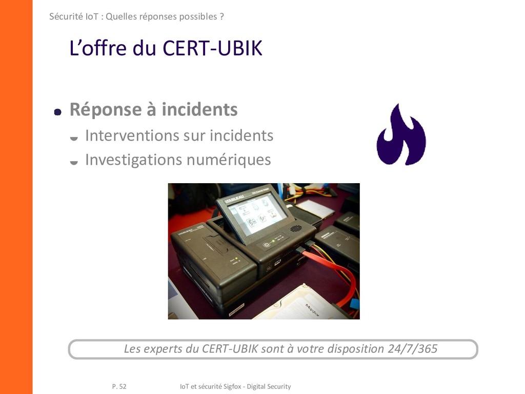L'offre du CERT-UBIK Réponse à incidents  Inte...