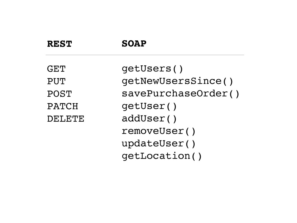 REST GET PUT POST PATCH DELETE SOAP getUsers() ...