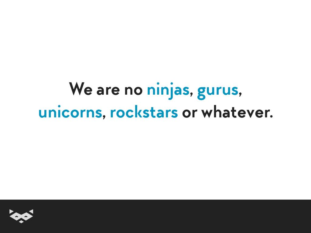We are no ninjas, gurus,  unicorns, rockstars ...
