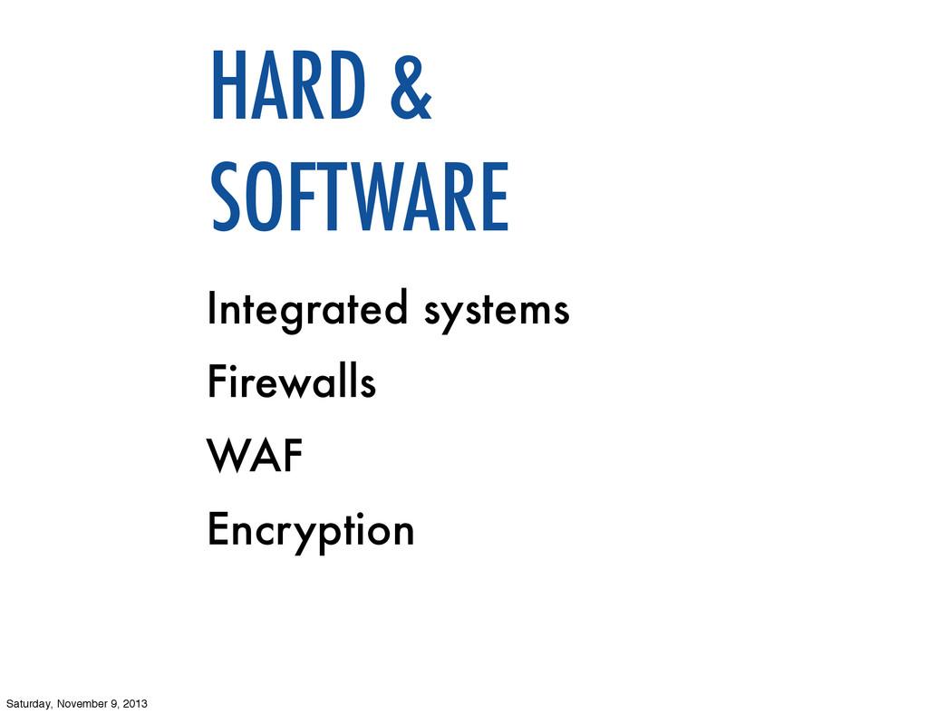 Integrated systems Firewalls WAF Encryption HAR...