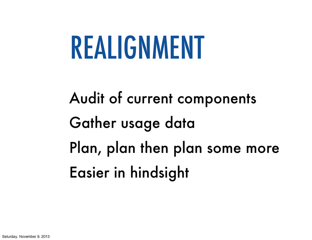 Audit of current components Gather usage data P...